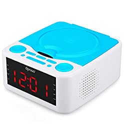 DPNAO CD Player with USB FM Radio Clock Dual Alarm Remote Headphone Home Audio System (Blue)