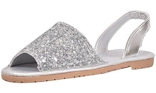 Truffle Ladies Slingback Menorcan Sandals Flat Glitter Summer Shoes Ada1-silver Glitter e030n0Tl9