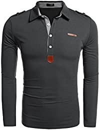 Coofandy Men's Casual Solid Long Sleeve Polo Shirt
