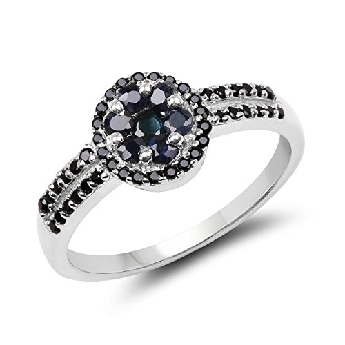 - 0.71 Carat Genuine Blue Sapphire & Black Spinel .925 Sterling Silver Ring