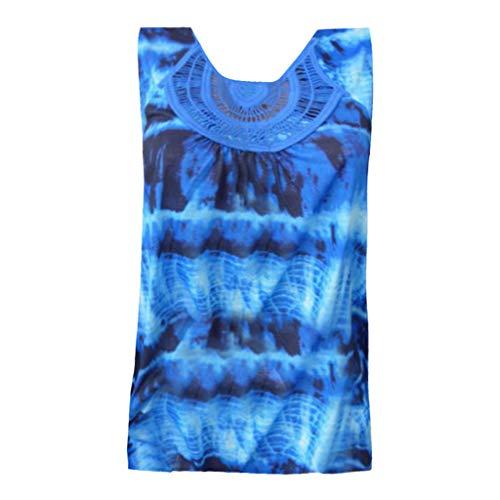(Women Fashion Round Neck Sleeveless Lace Patchwork Tie Dye Printing Tank Top Dark Blue)