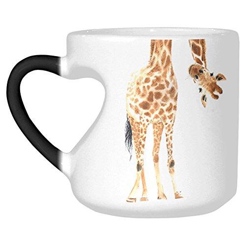 InterestPrint Watercolor Giraffe Animal Print Heat Sensitive Mug Color Changing Coffee Mug, African Wildlife Safari Morphing Heart Shaped Mug Travel Tea Cup Funny Mother's Day Birthday Gift, 10.3OZ (Giraffe Mug Print)