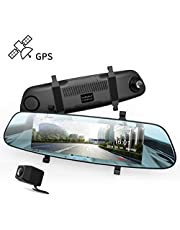 """DuDuBell Mirror Dash Cam 7"""" Streaming Media Dual Dash Cam with External GPS, IPS Touch Screen 1080P Front and 720P Rear Camera 290° Wide Angle, Reverse Assistance LDWS HDR"""