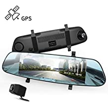 """Mirror Dash Cam, DuDuBell 7"""" Streaming Media Dual Dash Cam with External GPS, IPS Touch Screen 1080P Front and 720P Rear Camera 290° Wide Angle, HDR Reverse Assistance"""