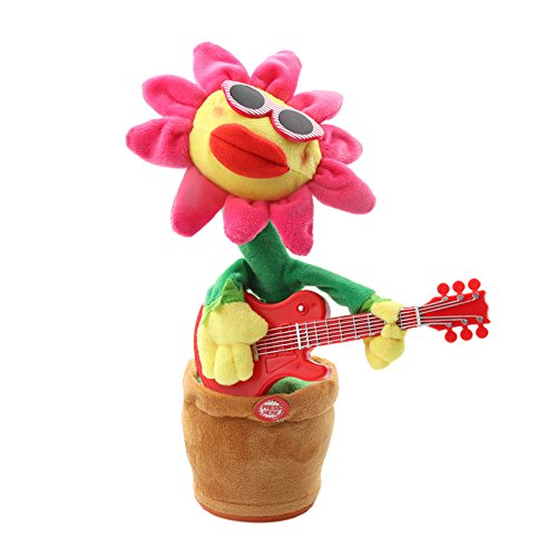 ADSRO Singing and Dancing Sunflower Voice-activated Electric Plush Toys Children's Educational Toys Stress Relief Toys Baby Audio size 8.5 32 cm (Guiter) by ADSRO