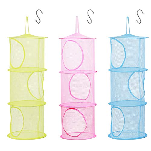 LANMOK 3pcs Hanging Mesh Storage Basket Foldable Space Saving Toy Organizer with 3pcs S Hooks for Kids Room Bathroom Wall Balcony Wardrobe