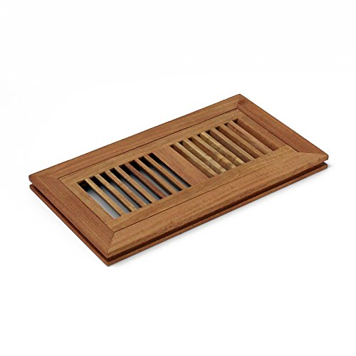 (3 X 10 Inch Santos Mahogany Wood Flush Mount Floor Register Vent Cover Grille Unfinished by WELLAND, 3/4