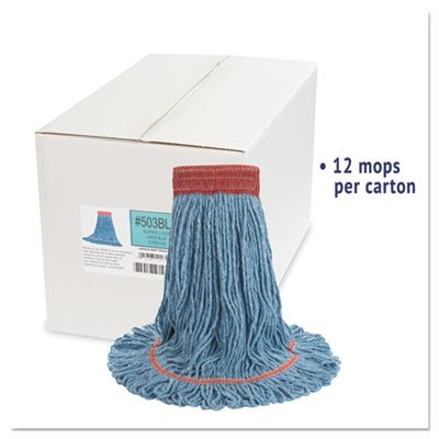 Boardwalk BWK503BLCT Super Loop Wet Mop Head, Cotton/Synthetic, Large Size, Blue (Case of 12)