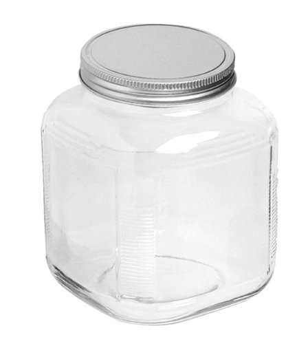 Anchor Hocking 1-Gallon Cracker Jar with Brushed Aluminum Lid, Set of 4, Clear Glass - 85725 (Glass Jars With Metal Screw Top Lids)