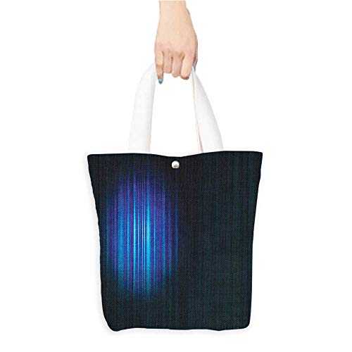 Grocery Shopping Bags with Handles Single Hollywood Show Light Themed Curtain work Navy Blue and White Also a Gift for Mom W16.5 x H14 x D7 INCH