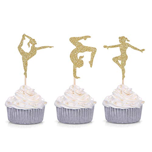 24 Gold Glitter Gymnastics Cupcake Toppers Gymnast Girl Birthday Party Decorations