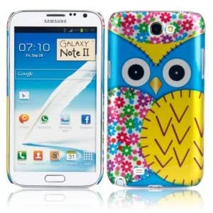 Plastic Protective Case with Big Owl Pattern for Samsung N7100 Blue and Sunflower
