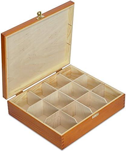 29 x 25 x 7,5 cm Dekoration Lagerung der Teebeutel mit 12 F/ächer und Deckel Creative Deco Hell-Braune Tee-Box aus Nat/ürliches Kiefernholz Tee-Organizer Perfekte Tee-Kiste f/ür Decoupage