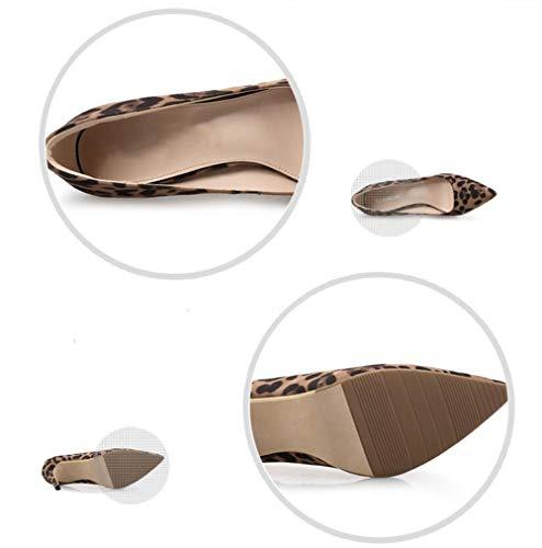6cm A Donna Lavoro Tacco Stampa Cinturino Con Scarpe Leopardata Spillo Per Punta Con Da A Da Con Ballo Da Punta gqqHwxY46