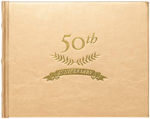 C.R. Gibson Gold 50th Anniversary Guest Book, 200 Pages, 8.6