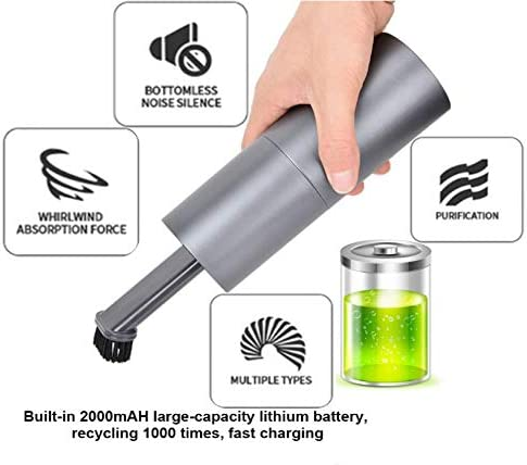 Diyeeni Mini Aspiradora Portátil, Aspiradora de Mano Recargable con USB Aspiradora de Coche de Mano para el Coche Hogar Mascota Limpieza de Cabello: Amazon.es: Electrónica