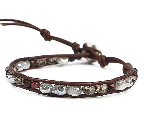 Chan Luu Red and Grey Mix Semi Precious Mineral Stone Beaded Leather Single Wrap Bracelet