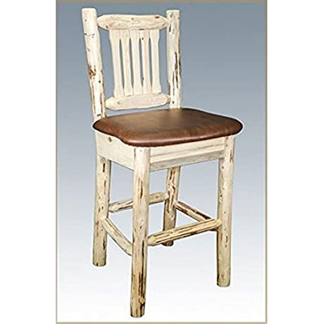 Montana Woodworks Montana Collection Barstool With Back Clear Lacquer Finish With Upholstered Seat Saddle Pattern