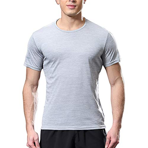 Fashion Men's Short Sleeve Fit Comfortable Casual Slim T-Shirt Sport Top Blouse Gray