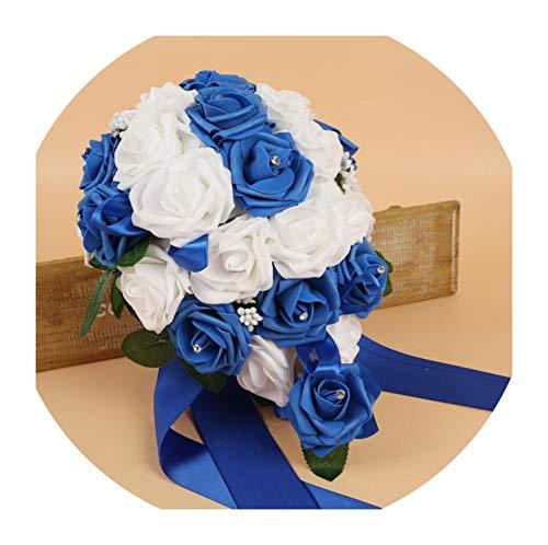 PE Foam Flower Artificial Bridal Bouquets Crystal Bridesmaid Bridal Wedding Bouquets Water Drop Shaped Turquoise Royal Blue 131,Blue ()