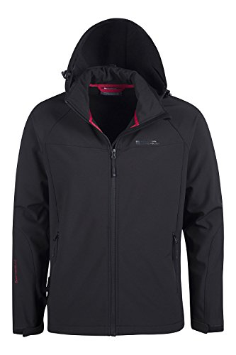 Mountain Warehouse Exodus Mens Softshell Jacket - Casual Summer Coat Black XXXX-Large