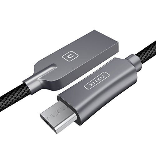 Price comparison product image INIU Micro USB Cable Android 2.4A Quick Charging Zinc Alloy Nylon Braided 3.3ft Tangle-Free USB data charger cable with Organizing Strap for Samsung HTC Motorola Mobile Phone Power Bank