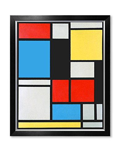 DECORARTS - Ater Piet Mondrian Composition in Blue, red and Yellow Lithograph in Colours. Giclee Prints Canvas Art for Home Decor 30x24, Framed Size: 33x27