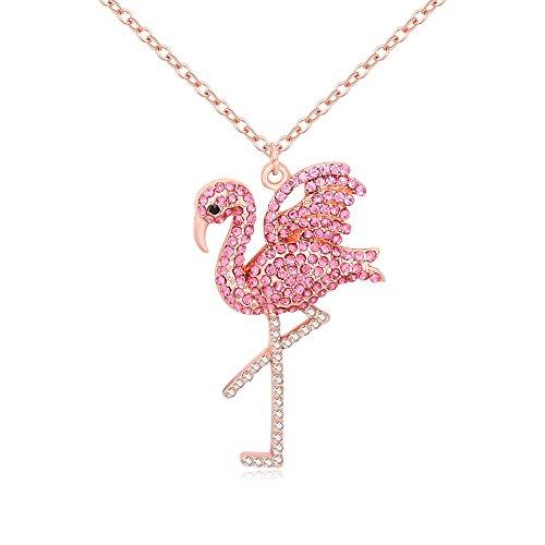 MANZHEN Delicate Rhinestone Pink Flamingo Bird Pendant Necklace Gifts for Women (Rose Gold)