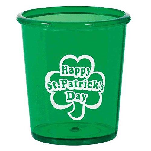 (1) - Amscan Lucky Irish Saint Patrick's Day Shot Glass Party Tableware, 50ml, Green   B01LYXOHAB