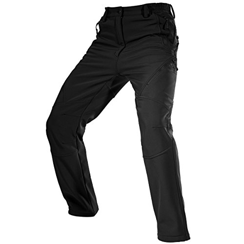 FREE SOLDIER Men's Fleece Lined Water Repellent Softshell Snow Ski Pants with Zipper Pockets(Black 42W/31.5L) Fleece Lined Water
