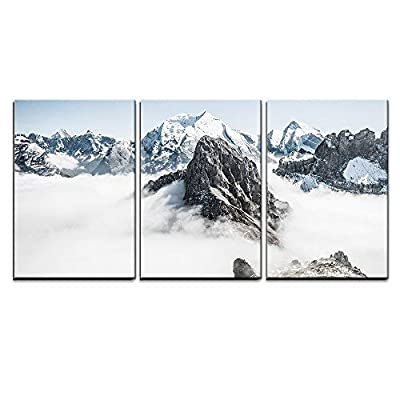3 Piece Canvas Wall Art - Winter Landscape Mountain Peaks Covered with Fresh Snow - Modern Home Art Stretched and Framed Ready to Hang - 16