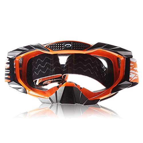Adisaer Cycling Sunglasses Youth Mountain Bike Warm Wind and dust Goggles ski Goggles Transparent Orange Black for Adults