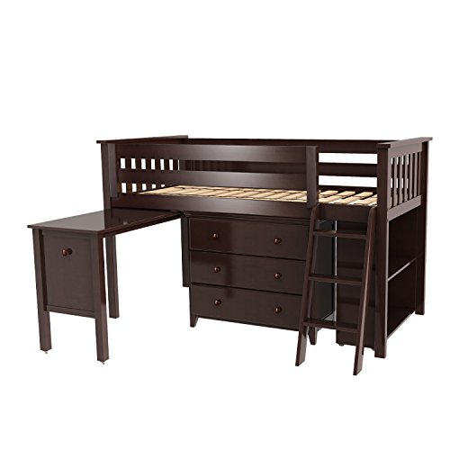 Max & Lily Solid Wood Twin-Size Storage Loft Bed with Dresser, Bookcase and Desk, Espresso - Metal Solid Pine Bed