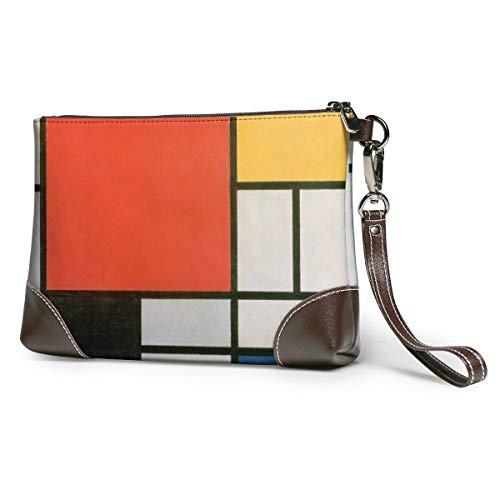 Mondrian Leather Wristlet Clutch Bag Zipper Handbags Purses Phone Wallets With Strap Card Slots