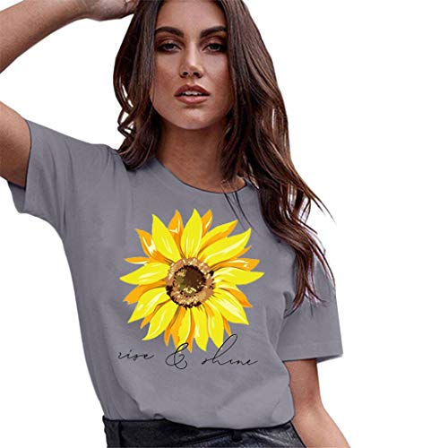 WUAI Plus Size Women's Casual Short Sleeve Sunflower Printed Graphic Basic Tee Summer Tops Shirts (Grey,Medium) -