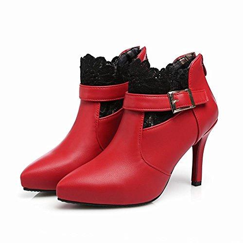 MissSaSa Damen High-heel Pointed Toe Knöchelriemchen Ankle-Boots mit Reißverschluss und Stiletto Rot