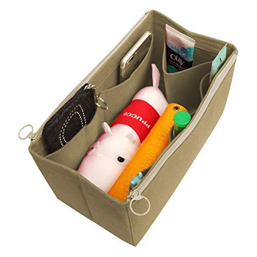 [Fits Neverfull MM/Speedy 30, Khaki] Felt Organizer (with Double Zipper Bag), Bag in Bag, Wool Purse Insert, Customized Tote Organize, Cosmetic Makeup Diaper Handbag