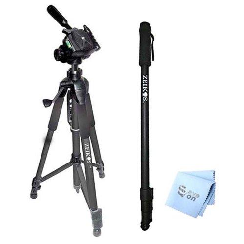 SAVEoN 75'' Tripod + 72'' Monopod + SAVEoN MicroFiber Cleaning Cloth for All Camcorders and Cameras by SAVEoN