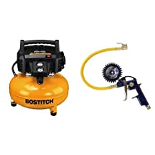 """Bostitch BTFP02012 6 Gallon 150 PSI Oil-Free Compressor & Campbell Hausfeld Tire Inflator, 3-in-1 Inflation Gun, Locking Chuck and 2-inch Gauge, ¼"""" NPT and Flexible Hose (MP600000AV)"""