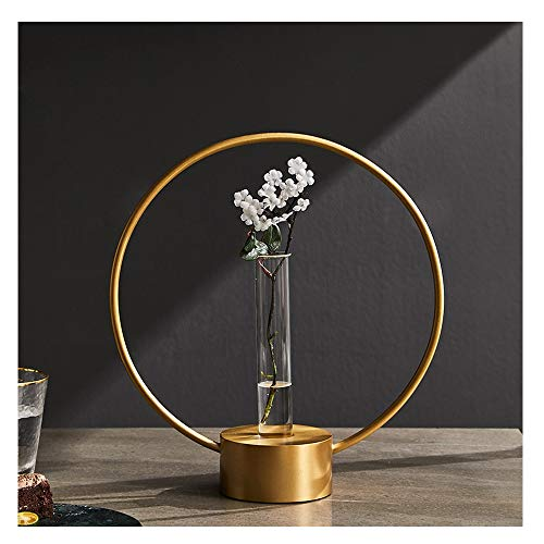 (HU Nordic Golden Brass Hydroponic Flower Table Top Decoration Dried Flower Round Flower Stand Transparent Glass Vase 32X29.5cm)