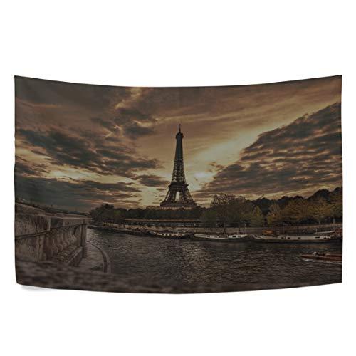 (RH Studio Tapestry Paris Promenade Eiffel Tower HDR Wall Hanging Tapestries Dorm Livingroom Bedroom Bedspread Sofa Cover Beach Towel(60x40inch))