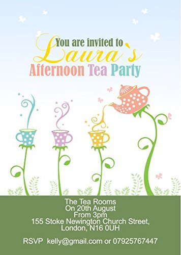 10 x Personalised Afternoon Tea Birthday Anniversary Party Invitations ABV Designs