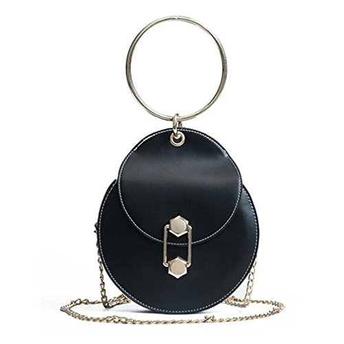 EKLCD Pu Leather Handbags Women's Handbag Round Bag Chain Bag Portable Tote Bag Shoulder Bags Black