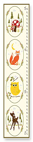 Stupell Home Décor Deer Owl Fox Woodland Growth Chart, 7 x 0.5 x 39, Proudly Made in USA ()