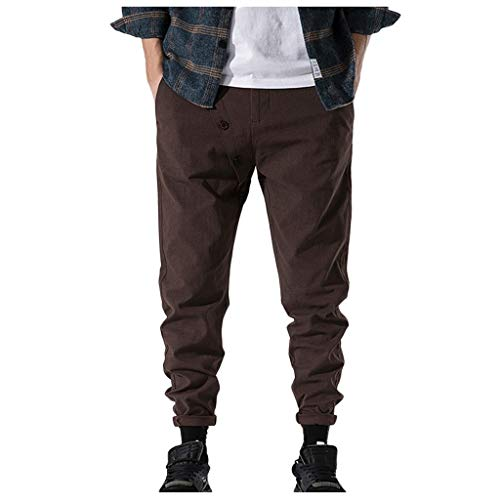 Gunel Men's Cargo Pants Jogger Combat Elasticated Waist Casual Trouser Outdoor Sweatpants Coffee