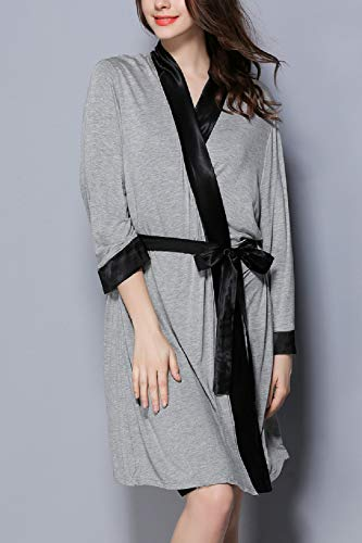 Le Pigiama Di Da Casual Camicie Donne Ringer Kimono Vestaglia Modale Grey Notte Estate trqr8Rv