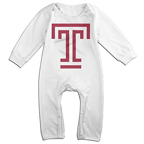 KIDDOS Baby Infant Romper Temple University T Logo Long Sleeve Jumpsuit Costume,White 6 M