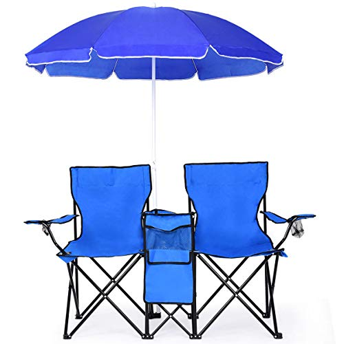 - Goplus Double Folding Picnic Chairs w/Umbrella Mini Table Beverage Holder Carrying Bag for Beach Patio Pool Park Outdoor Portable Camping Chair (Blue w/Umbrella)