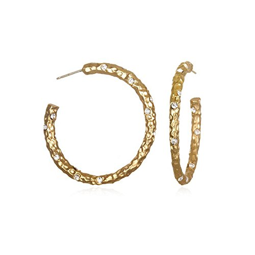 Tat2 Designs Women's Gold-Plated Hammered Hoops by Tat2 Designs