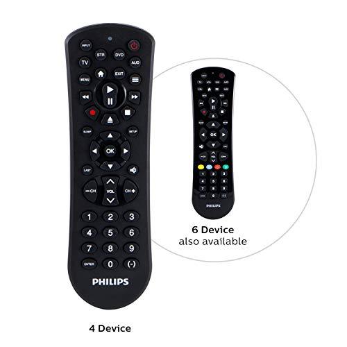 Philips Universal Remote Control for Samsung, Vizio, LG, Sony, Sharp, Roku, Apple TV, RCA, Panasonic, Smart TVs, Streaming Players, Blu-ray, DVD, Simple Setup, 4-Device, Black, SRP9141A/27 (Remote Philips)
